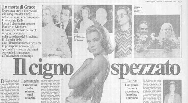La pagina d'epoca del Messaggero dedicata a Grace Kelly