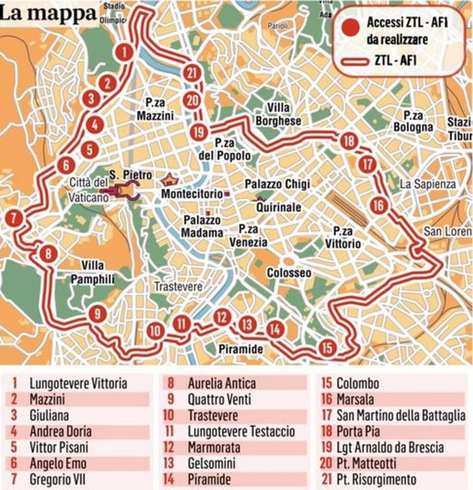 Cartina Roma Turistica.Roma Bus Turistici La Mappa Dei Nuovi 21 Varchi