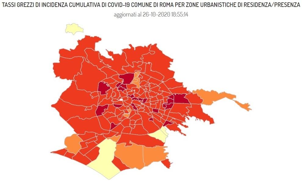 Cartina Roma Ciampino.Covid Roma La Mappa Delle Nuove Zone Rosse 4mila Casi In 7 Giorni Boom A Tor Sapienza 108 E Tiburtino 57 6