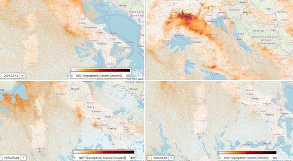 Cartina Satellitare Lombardia.Coronavirus Cala Lo Smog Nel Nord Italia Il Satellite Mostra Le Immagini