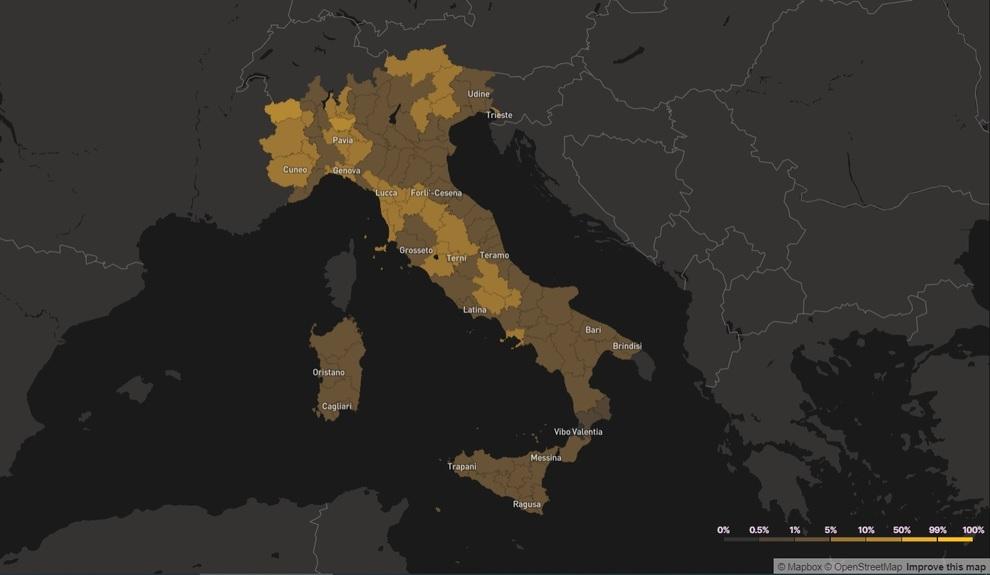 Cartina Italia E Province.Covid Italia Ecco La Mappa Del Rischio Provincia Per Provincia A Roma Il 3 8 Di Probabilita Di Incontrare Un Contagiato Tra 10 Persone