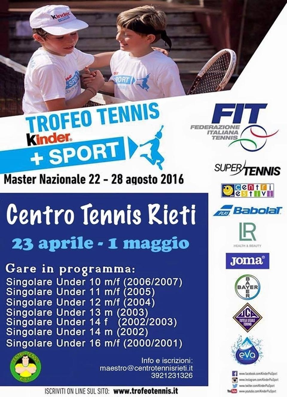 Trofeotennis It Calendario Tornei.Rieti Via Al Trofeo Kinder In Campo Dagli Under 10 Ai 16