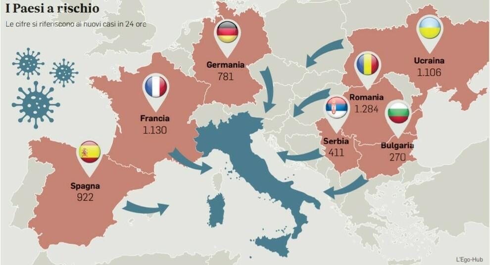 Cartina Italia Romania.Covid E La Mappa Del Rischio Dalla Francia Alla Romania L Assedio Del Virus All Italia