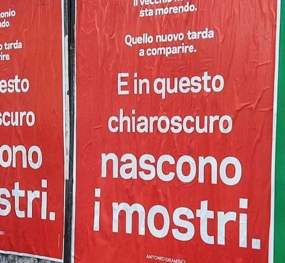Roma Il Giallo Dei Manifesti Con Le Parole Di Gramsci