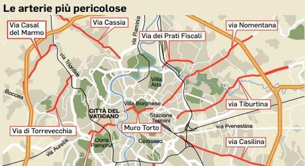 Risultati immagini per mappa incidenti buche roma