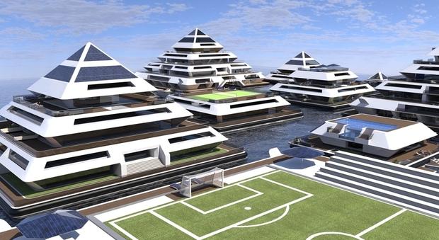 immagine Waya, ecco la città galleggiante a forma di piramide ideata da designer viterbese
