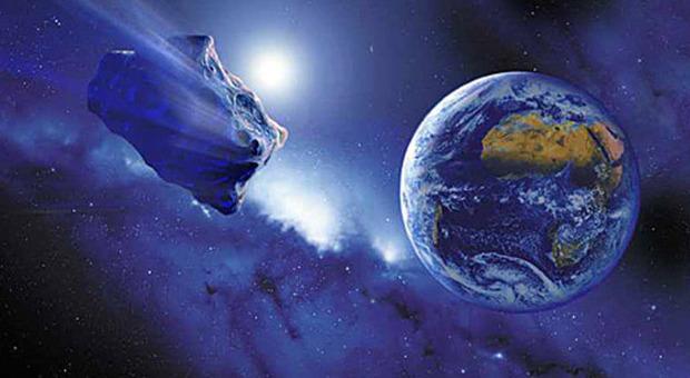 Un'immagine artistica di un asteroide in rotta verso la Terra