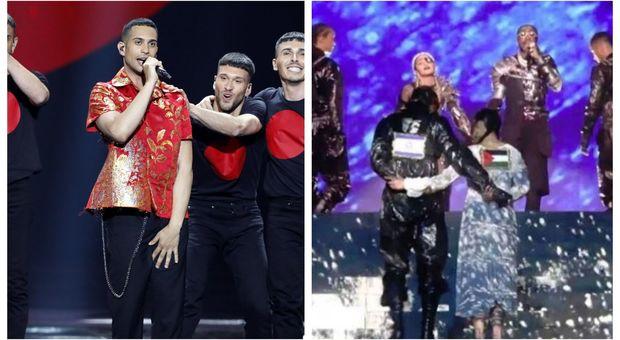 Mahmood e i ballerini di Madonna con le bandiere di Israele e della Palestina