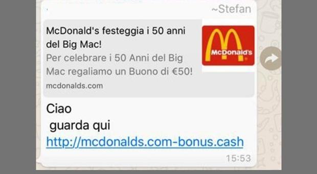 Whatsapp, occhio al finto coupon McDonald's: se cliccate, dati personali a rischio
