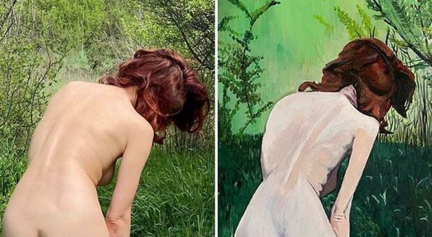Ema Stokholma dipinge l'amica Andrea Delogu: la foto di nudo diventa un quadro
