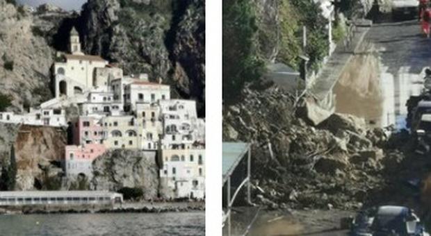 Amalfi, grossa frana sulla statale: case evacuate. Il sindaco: «Non sappiamo se persone coinvolte»
