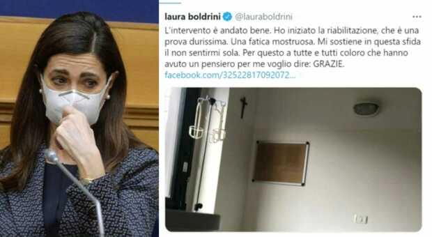 Laura Boldrini dall'ospedale: «Intervento è andato bene. Prova durissima perché il dolore è veramente forte»
