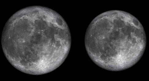Lo spettacolo della luna, a sinistra la Superluna del 14 novembe immaginata dal Virtual Telescope Project