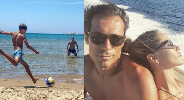 Elena Santarelli, il piccolo Giacomo gioca in spiaggia con il papà: «Bernardo lo incoraggia sempre»