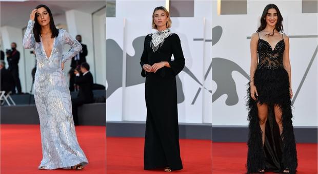 Venezia, i look sul red carpet: Anna Foglietta austera, Maria Zeikrat come in Moulin Rouge