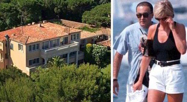 La villa in vendita e, a fianco, Dodi Al-Fayed e Lady Diana (express.co.uk - foto Ap)