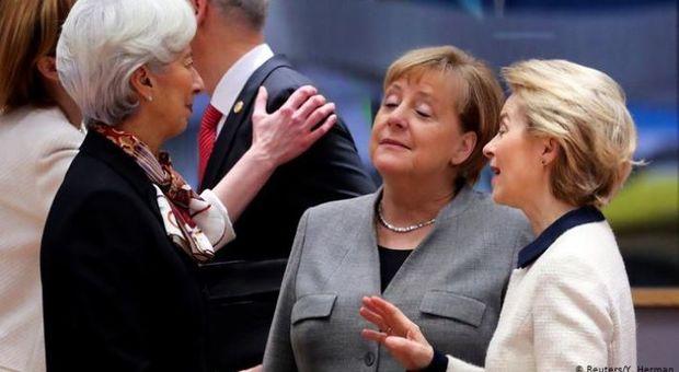 Christine Lagarde, Angela Merkel e Ursula von der Leyen