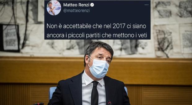 Matteo Renzi e il «veto dei partitini», i vecchi tweet che la rete rinfaccia al leader di Iv