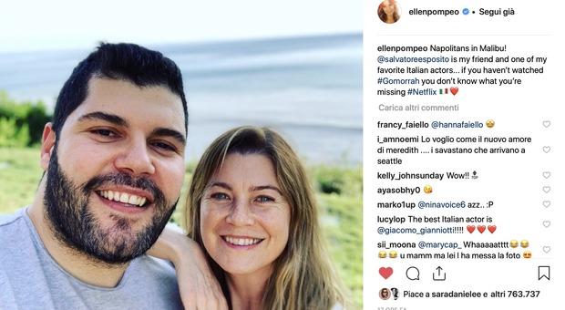 Grey's Anatomy e Gomorra, selfie da record per Ellen e Salvatore: due napoletani a Malibù