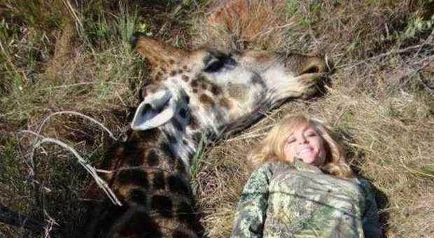 La cacciatrice sorride vicino alla giraffa uccisa: il web si infuria e la minaccia di morte