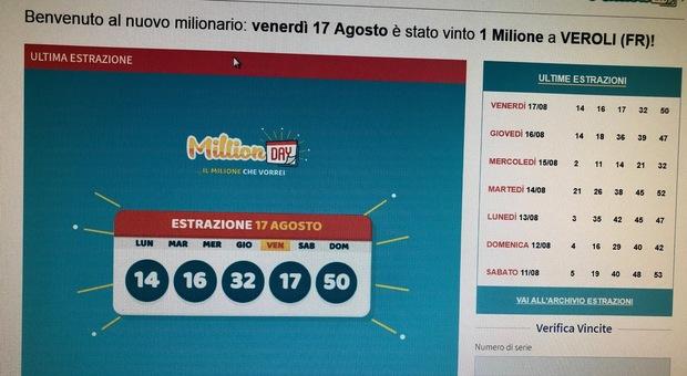 """La dea bendata bacia ancora la Ciociaria, in sette mesi vinti tre milioni di euro al """"Million Day"""""""