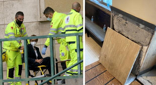 Bongiorno ferita da una lastra di marmo lascia il tribunale in sedia a rotelle: «Chiederemo a Bonafede»