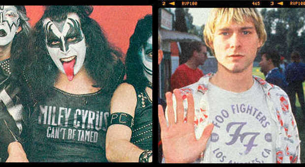 Gene Simmons dei Kiss con la T-shirt di Miley Cyrus; Kurt Cobain dei Nirvana dei Foo Fighters