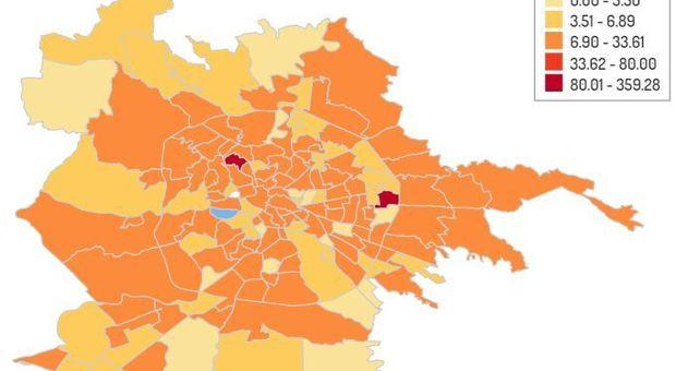 Virus, mappa contagio Roma: casi in aumento a Garbatella e Trieste, in calo a Montesacro
