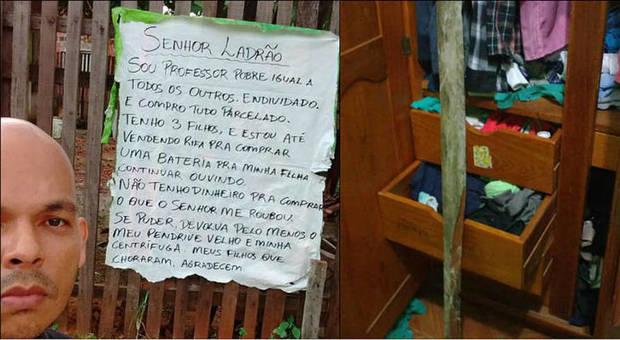 Brasile, prof derubato scrive un messaggio al ladro: «Sono povero, mia figlia è disabile, ridatemi il bottino»
