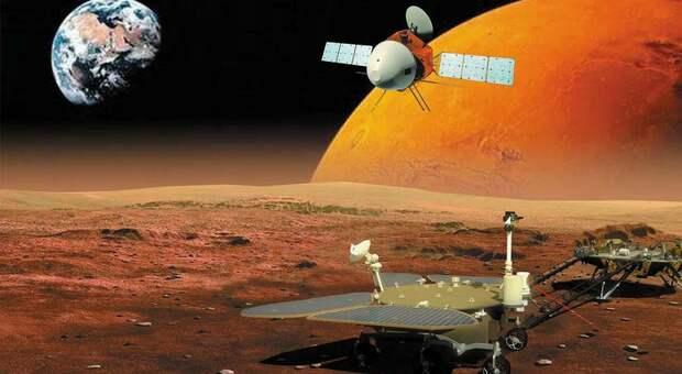 Un renderig artistico della sonda cinese su Marte