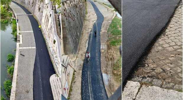 Roma, asfalto storto sulla pista ciclabile del Lungotevere: il pasticcio durante i lavori