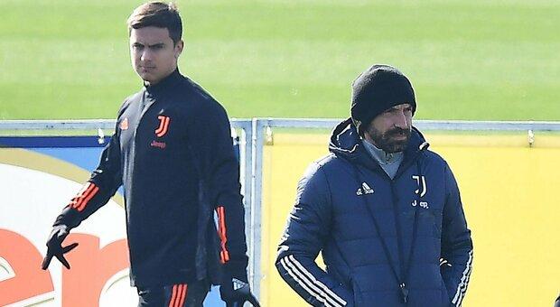 Juve, Pirlo: «Dybala ancora out, il ginocchio non migliora»