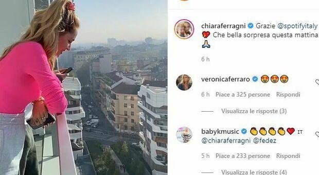Chiara Ferragni e Fedez si affacciano dal balcone e scoppiano in lacrime per la sorpresa di Spotify
