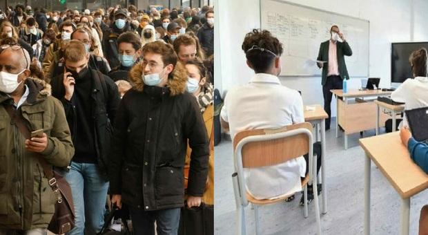 Francia, scuole aperte: «Contagi allo 0,5% a scuola». Fuga da Parigi in vista del lockdown