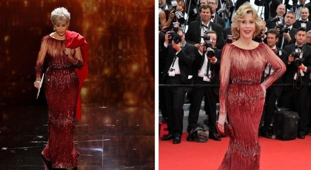 """Oscar, Jane Fonda e l'abito """"riciclato"""" dal 2014: ecco perché ha scelto di indossare lo stesso vestito"""