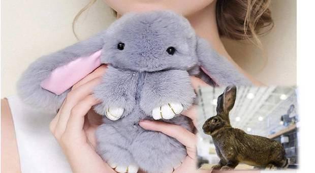 I teneri coniglietti di pelliccia di coniglio al 100% (immagine Amazon.com e Ansa)