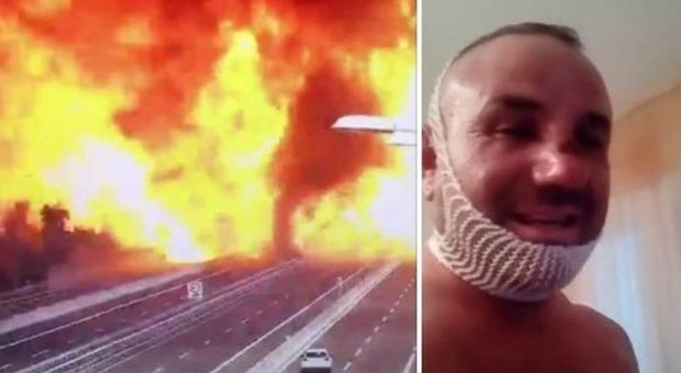 Bologna, il camionista tamponato dall'autocisterna posta un video su Fb: «Il lupo è ferito ma non è morto»