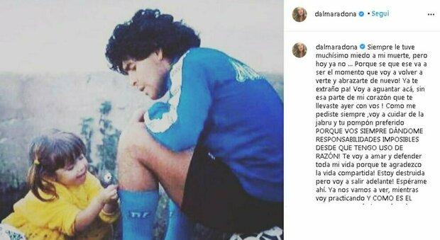 Maradona, la figlia Dalma: «Ti amerò sempre, non riesco a immaginare la mia esistenza senza te»