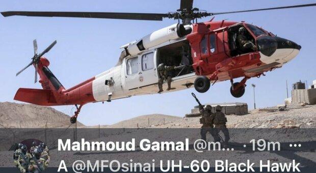 Elicottero caduto nel Sinai egiziano: sette morti