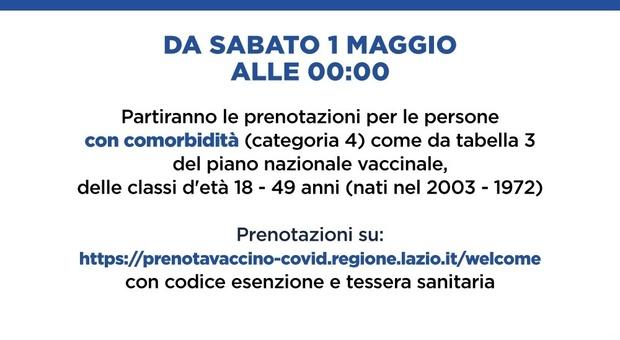 Prenotazione vaccini Lazio, da domani al via per chi ha più di 18 anni con patologie