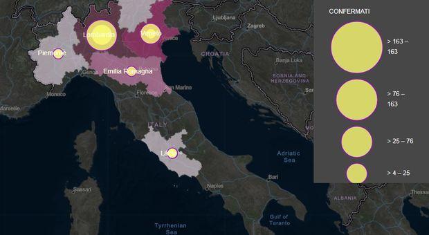 Cartina Italia Romana.Coronavirus La Mappa Del Contagio 79 Morti 2 263 Casi E 160 Guariti