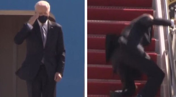 Biden scivola a cade mentre sale sull'Air Force One: paura per il presidente, poi si riprende e saluta
