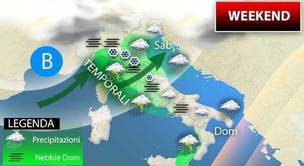 Meteo, maltempo in arrivo: weekend con piogge e neve