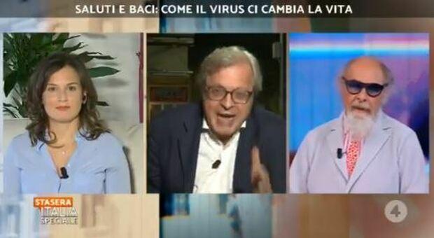 Sgarbi-D'Agostino, lite a Stasera Italia: «La mascherina? Mettitela nel cervello»