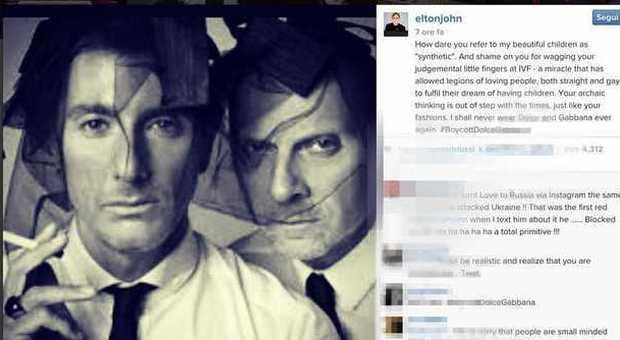 Elton John contro Dolce   Gabbana sulle adozioni gay  vergognatevi 2396cf58593