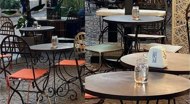 Varese, pesci rossi nei barattoli usati come segnaposto sui tavolini del bar. La denuncia delle associazioni (immagini dal profilo Fb di Luca Ferrari)