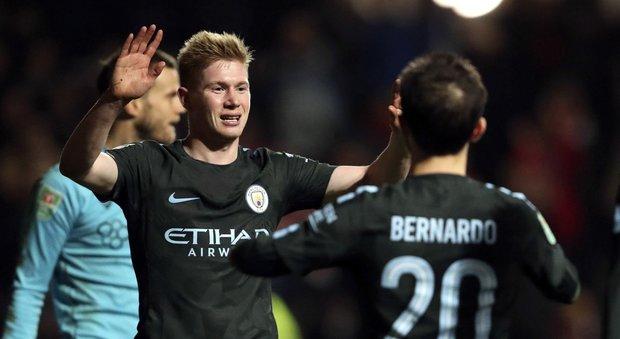 Il Manchester City in finale di coppa di Lega, vincendo 3-2 sul campo del Bristol