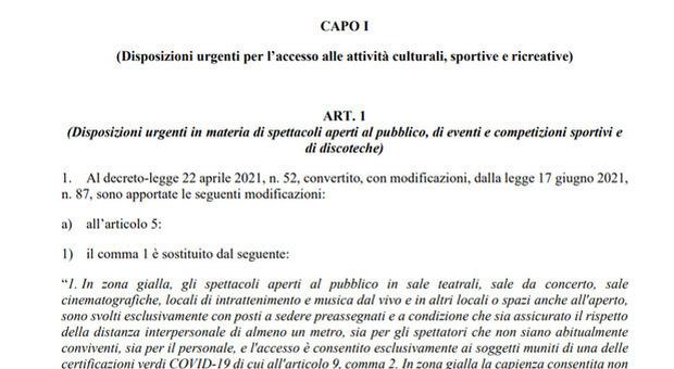 Decreto capienze stadi e discoteche, il testo integrale approvato dal Consiglio dei ministri