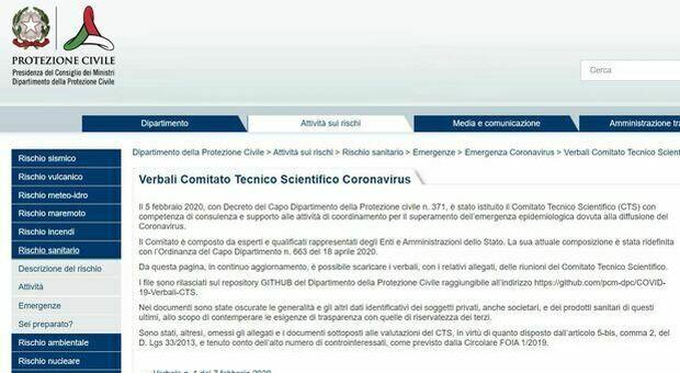 Coronavirus, verbali Cts online sul sito della Protezione civile