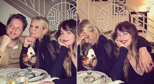 Gwyneth Paltrow e Dakota Johnson, compagna del suo ex marito Chris Martin: risate tra amiche a cena